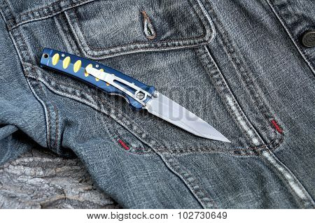 Penknife With A Blade From Damask