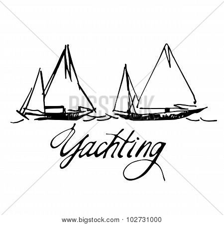 Hand made sketch of yachting and sea.