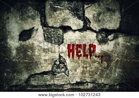 Help Bloody On Dirty Brick Wall With Vintage And Vignette Tone - Horror And Scary Wall Background