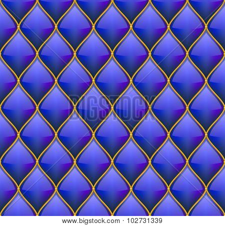 Blue with Gold Quilted Leather Seamless Background. Vector