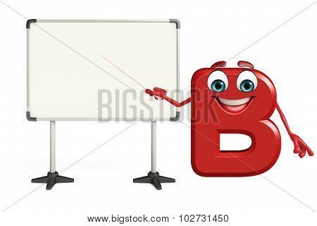 Cartoon Character Of Alphabet B With Display Board