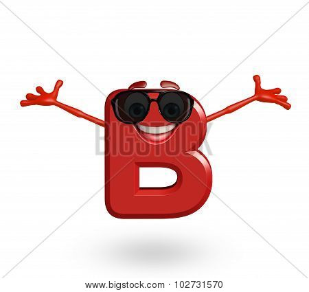 Cartoon Character Of Alphabet B With Goggles