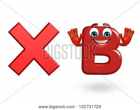 Cartoon Character Of Alphabet B With Cross Sign