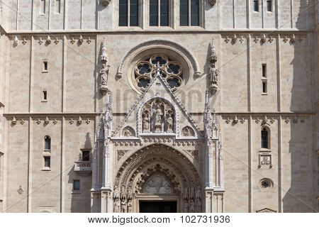 ZAGREB, CROATIA - MAY 13, 2015: The Zagreb Cathedral on Kaptol is Roman Catholic sacral building in Gothic style. It is dedicated to the Assumption of Mary and to kings Stephen and Ladislaus.