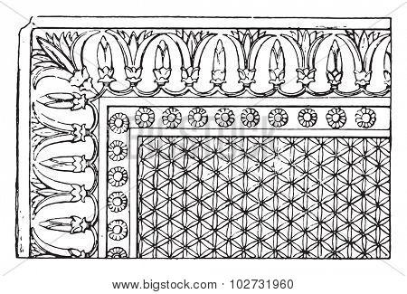 Paving Assyrian, vintage engraved illustration.