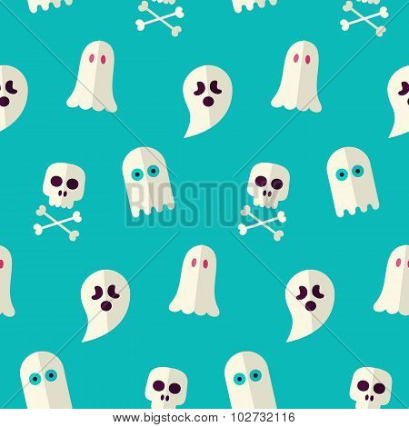 Vector Flat Seamless Scary Ghost And Spirit Halloween Pattern