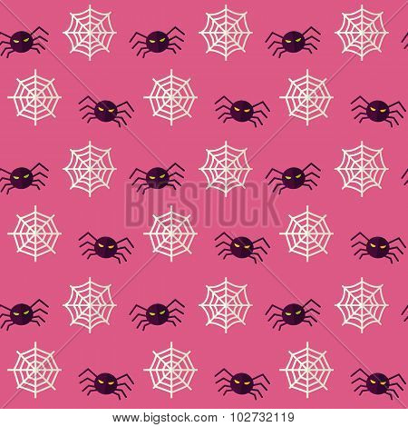 Vector Flat Seamless Scary Spider Halloween Pattern