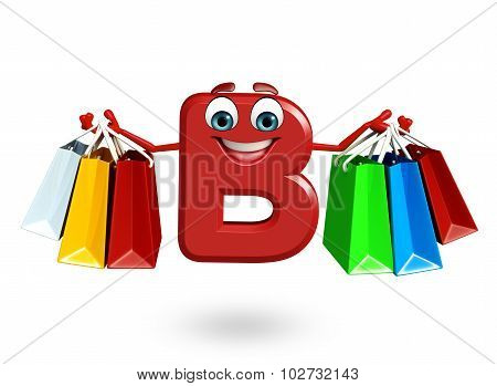 Cartoon Character Of Alphabet B With Shopping Bag