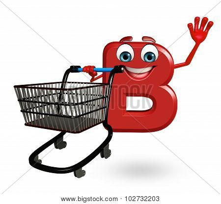 Cartoon Character Of Alphabet B With Trolley