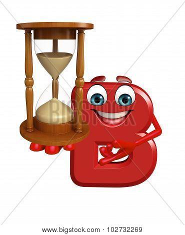 Cartoon Character Of Alphabet B With Sand Clock