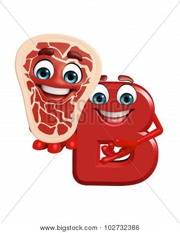 Cartoon Character Of Alphabet B With Meat Steak