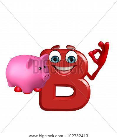 Cartoon Character Of Alphabet B With Piggy Bank
