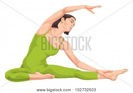 Vector illustration of woman in yoga pose.