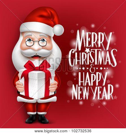 3D Realistic Santa Claus Cartoon Character Holding Christmas Gift