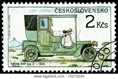Vintage Postage Stamp. Old-time Classical Cars. 4.