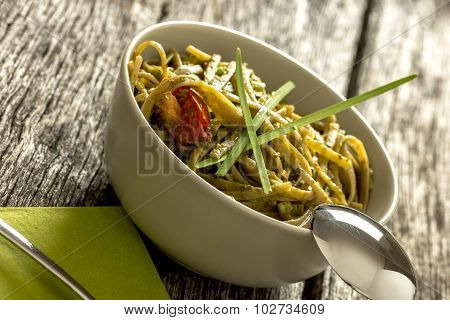 Tasty Freshly Cooked Pasta With Italian Green Pesto Sauce
