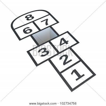 Hopscotch With Hole On Number 5, Isolated On White Background