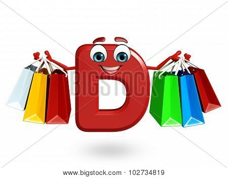 Cartoon Character Of Alphabet D With Shopping Bag