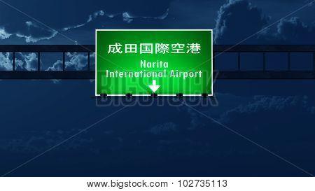 Tokyo Narita Japan Airport Highway Road Sign At Night