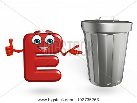 Cartoon Character Of Alphabet E With Dustbin