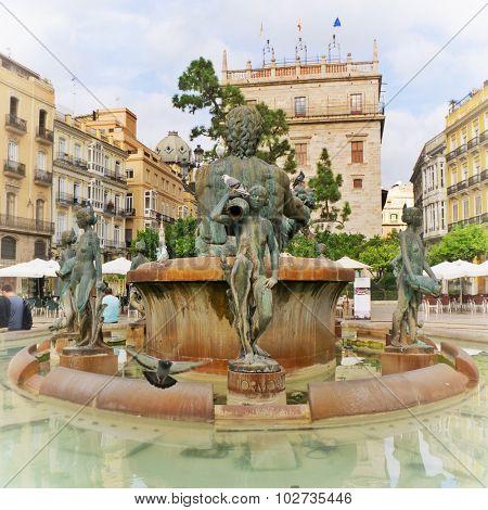 Turia Fountain in the Plaza de la Virgen Valencia Spain