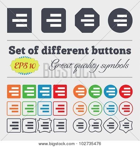 Right-aligned Icon Sign. Big Set Of Colorful, Diverse, High-quality Buttons. Vector