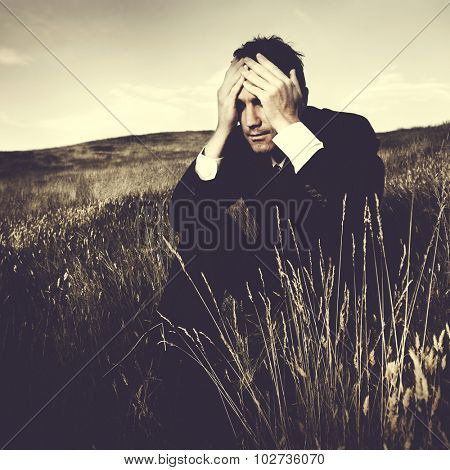 Depressed Businessman Stress Failure Lonely Concept