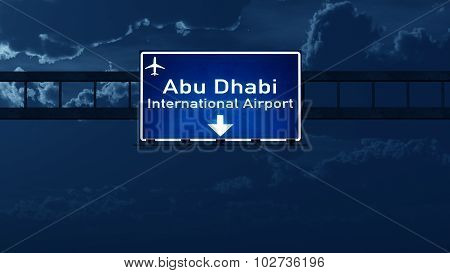 Abu Dhabi Uae Airport Highway Road Sign At Night