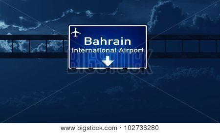 Bahrain Airport Highway Road Sign At Night