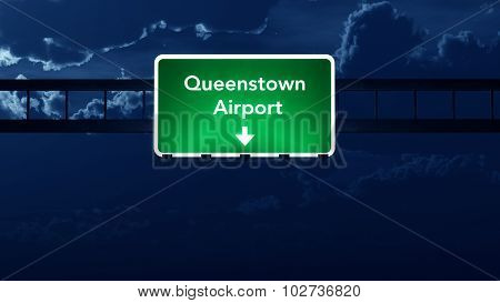 Queenstown Airport Highway Road Sign At Night