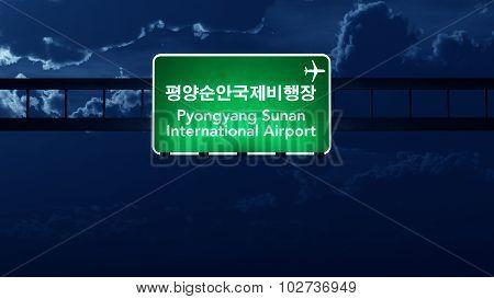 Pyongyang North Korea Airport Highway Road Sign At Night
