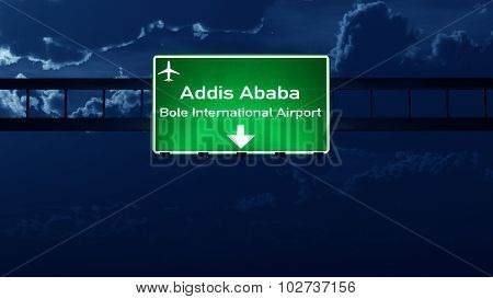 Addis Ababa Ethiopia Airport Highway Road Sign At Night