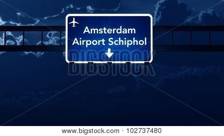 Amsterdam Schiphol Netherlands Airport Highway Road Sign At Night
