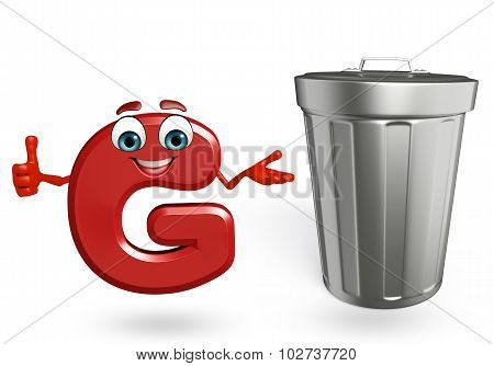 Cartoon Character Of Alphabet G With Dustbin