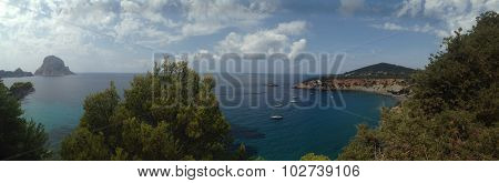 Panoramic view of Es Vedra, in Ibiza, Balearic Islands