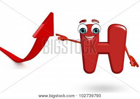 Cartoon Character Of Alphabet H With Arrow