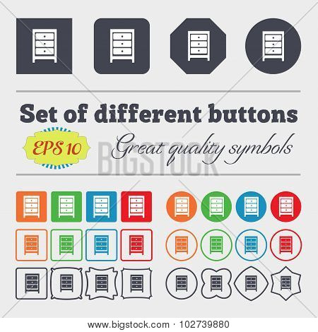 Nightstand Icon Sign. Big Set Of Colorful, Diverse, High-quality Buttons. Vector