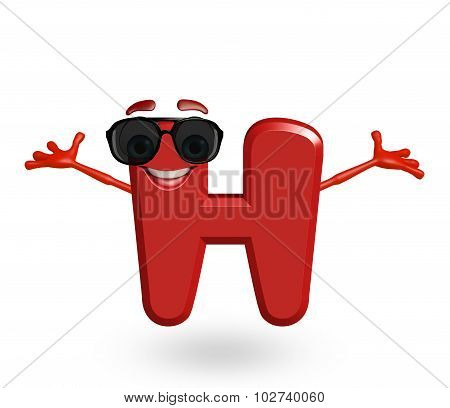 Cartoon Character Of Alphabet H With Goggles