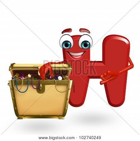 Cartoon Character Of Alphabet H With Treasure Box