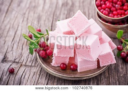 Cranberry sweet paste made from whipped egg whites