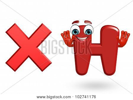 Cartoon Character Of Alphabet H With Cross Sign