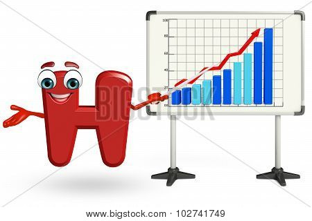 Cartoon Character Of H With Business Graph