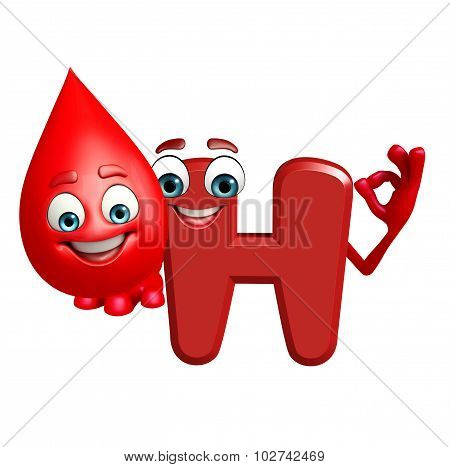 Cartoon Character Of Alphabet H With Blood Drop