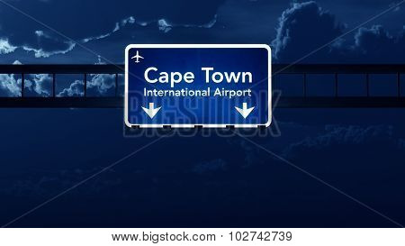 Cape Town South Africa Airport Highway Road Sign At Night