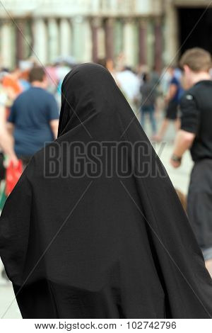 Muslim Traditional Woman - Back View