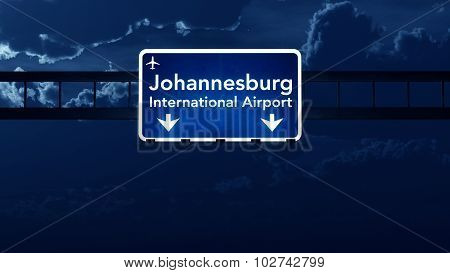 Johannesburg South Africa Airport Highway Road Sign At Night