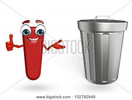 Cartoon Character Of Alphabet I With Dustbin