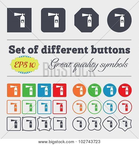 Fire Extinguisher Icon Sign. Big Set Of Colorful, Diverse, High-quality Buttons. Vector