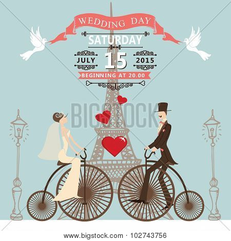 Wedding invitation.Bride groom on retro bike.Eiffel tower