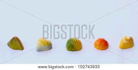 Chocolate bonbons with fruit flavors